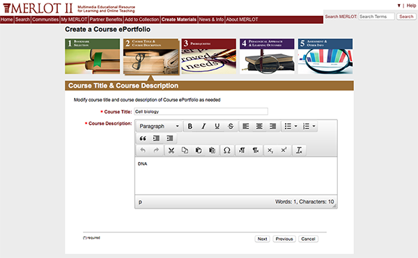 """screenshot of MERLOT showing the """"Create a course ePortfolio"""" function"""